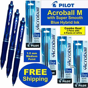 Pilot Acroball M 31811 Blue Hybrid Ink 3 Pens With 4 Packs Of 77298 Refills