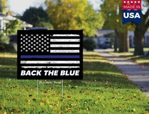 Back The Blue Thin Blue Line American Flag 18x12 Yard Sign with H stake