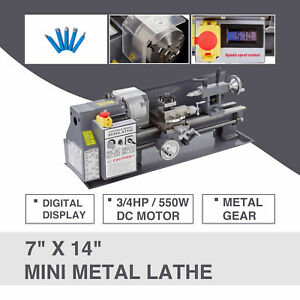 7 X 14 Mini Metal Lathe Machine 550w 3 4hp 5 Tools Digital Readout Upgraded