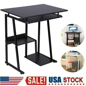 Computer Desk Small Space Saver Desk Laptop Pc Table Home W keyboard Tray Shelf