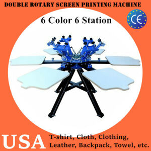 Us 6 Color 6 Station Double Rotary Screen Printing Machine T shirt Print Machine