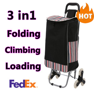 Folding Shopping Cart Lightweight Stair Climbing Cart 150lbs Capacity Portable_