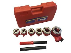 New Ratchet Pipe Threader Kit Set Ratcheting W 6 Dies And Case Gas Free Shipping
