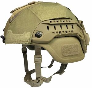 Large COYOTE BROWN ACH MICH ECH HELMET COVER w COUNTERWEIGHT POUCH HYBRID MESH $49.99