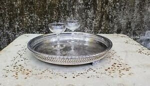 Vintage Round Silver Plate Gallery Tray 15 Inch