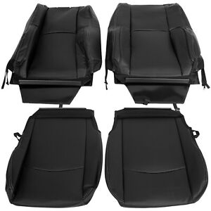 4 Pieces Black Seat Covers Synthetic Leather For 2009 2018 Dodge Ram Laramie
