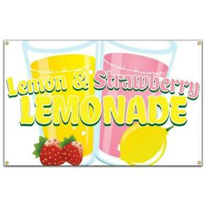 Lemon And Strawberry Lemonade Banner Concession Stand Food Truck Single Sided