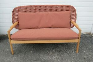 Gloster Kay Low Back Danish Outdoor Sofa Teak Wood And Wicker Wide Back 1239