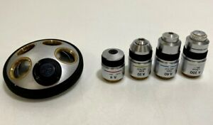 Olympus A 4 10 40 100x Microscope Objectives Lot Set W 5 Position Turret