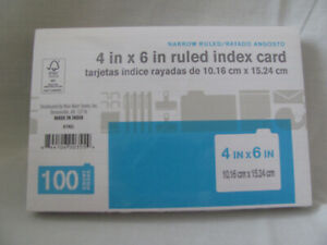 Wal mart Distro 4 X 6 Ruled White Index Cards 100 pack