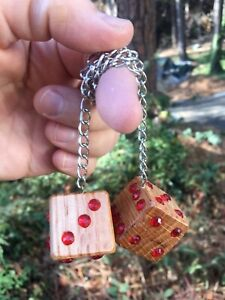 Red Bling Oak Dice Mirror Hangers New Product Car Or Truck Hand Made In Usa