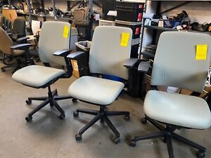 Executive Chair By Steelcase Amia In Light Gray Color fully Loaded