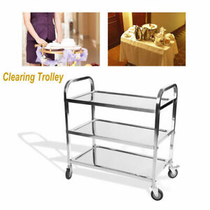 Catering Utility Clearing Trolley 900x850x450mm Vogue Mobile Stainless Steel
