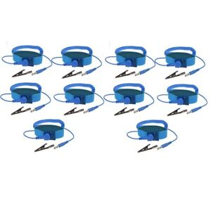 10x Anti static Wrist Band Esd Grounding Strap Prevents Static Build Up Blue