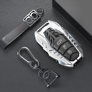 Silver Zinc Alloy Car Key Fob Cover Case Fit For Toyota Corolla Camry Avalon Chr