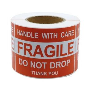 2 X 3 Fragile Handle With Care Thank You Label sticker