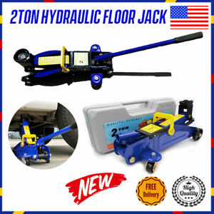 2 Ton Portable Heavy Duty Steel Low Profile Hydraulic Floor Jack Stands Tool Us