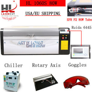 Ruida 80w 1000 600mm Co2 Laser Engraving And Cutting Machine Cw 3000 Chiller Usa