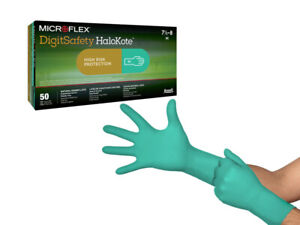 Digitsafety Green Heavy Duty Thick 15mil Rubber Latex Gloves 50 Count