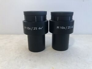 Pair Of Zeiss 44 40 34 Pl 10x 10x 25 Goggle Microscope Eyepieces 444034