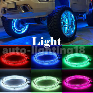 Double Row Led Wheel Rings 17inch Rgb Colors Car Rim Light Kit For Truck Offroad