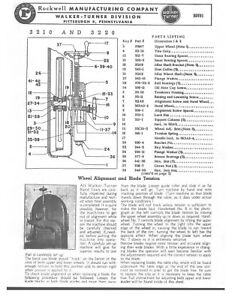 Walker Turner Band Saw 3210 3220 Service Parts Manual