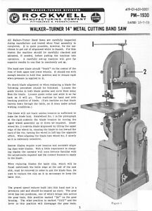 Walker Turner 14 Metal Cutting Band Saw Operator Maintenance Parts Manual