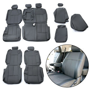 For 2014 2020 Toyota Tundra Crewmax Grey Synthetic Leather Seat Covers Kit