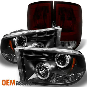 Fit 09 18 Ram 1500 10 18 2500 3500 Black Led Halo Headlights Dark Red Tail Lamp