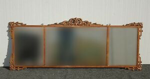Vintage French Wrought Iron Three Panel Bronze Rectangle Wall Mantle Mirror