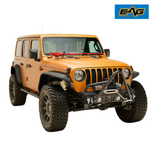 Eag Stubby Front Stinger Bumper With Winch Plate Fit For 18 21 Jeep Jl Wrangler