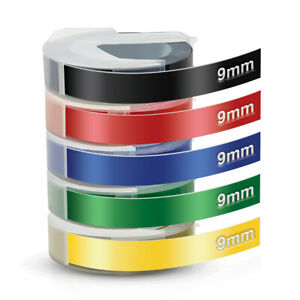 5 Rolls Colorful Label Tape For Dymo 3d 9mm Embossing Label Maker Tape 3 8 X 3m
