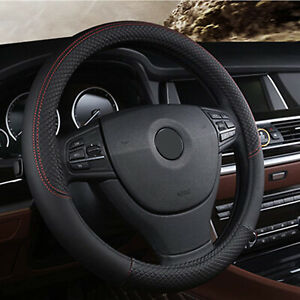 15 Inch Universal Car Steering Wheel Cover Pu Leather Breathable Anti slip Black