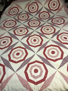 Vintage Cotton Quilt Feed Sack Red White Blue Depression Bullseye Spider Web 20s