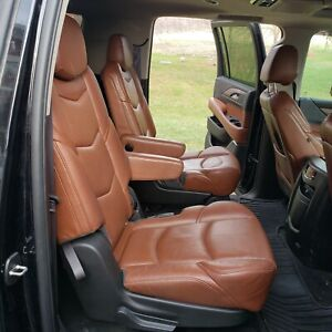 2015 17 Cadillac Escalade Esv Second Row Captain Chairs Mahogany Leather