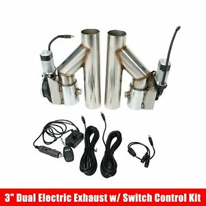 Pair 3 Electric Exhaust Cutout Downpipe Dump Bypass Valve W Switch Control Kit