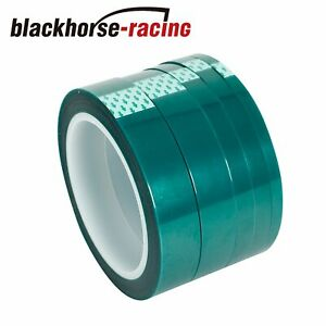 Silicone High Temp Masking Tape Kit 5 Roll Powder Coating Paint Green Polyester