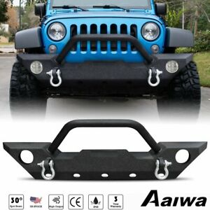 Front Bumper Textured Black W Winch Plate D Ring For 2007 2018 Jeep Wrangler Jk