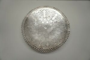 Large Antique 84 Silver Persian Plate