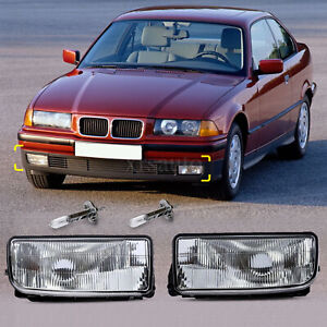 2 For Bmw E36 92 98 M3 318 325 Bumper Driving Fog Lights Clear Lens Housing Case