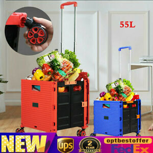 55l Portable Folding Shopping Cart Hand Basket Trolley Rolling Freight Luggage
