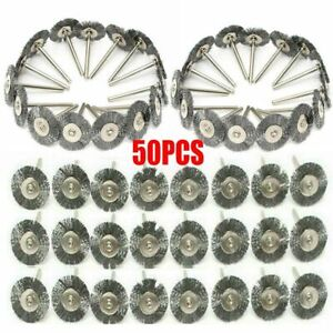 50pc Stainless Steel Wire Brush Fit Dremel Rotary Tool Die Grinder Removal Wheel