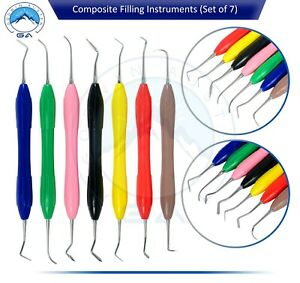 7 Pcs Dental Composite Filling Instrument Silicon Handle Restorative Kit