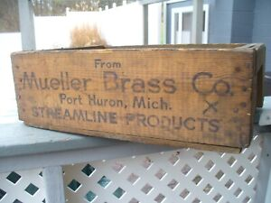 Old Vintage Antique Mueller Brass Wooden Crate Box Port Huron Mich Very Nice