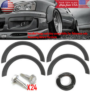 4 Pcs F R Arch Satin Black 2 3 Wide Body Kit Fender Flares Extension For Toyota