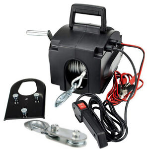 Portable Electric Winch 6000 Lb Remote Towing Hitch Truck Trailer Boat 12v 300w