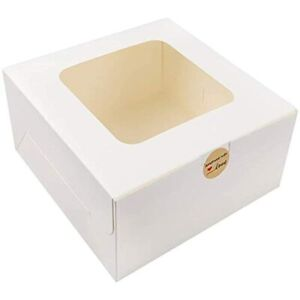 24pcs 10x10x5 Inches White Bakery Boxes With Window Cake For Pastries Cookies