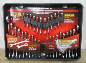 Gearwrench 32 Pc Piece Ratcheting Wrench Set Standard Stubby Sae Mm Metric Tools
