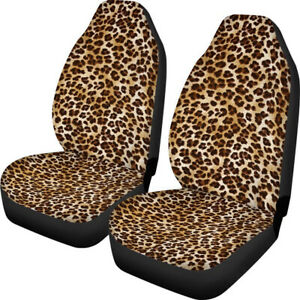 2x Car Front Seat Covers Polyester Polyester Fabric Print Auto Universal Cushion