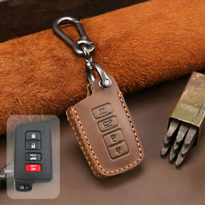 Leather Car Key Fob Cover For 2015 2018 Toyota Tacoma Remote Case Skin Jacket